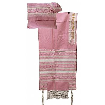 Elegant Light Wool Tallit Set  - Pink Gold