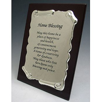 Wood & Silver Plate Blessings Plaque