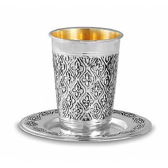 Sterling Silver Kiddush Cup - Quilted Ornate