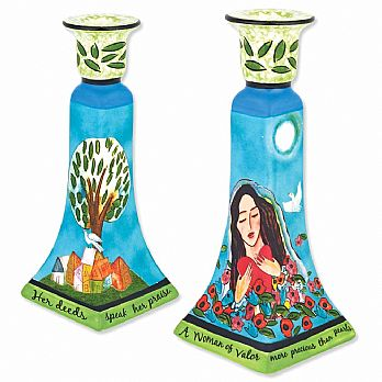 Ceramic Woman of Valor Candle Holder Set