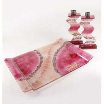Fused Glass Candlesticks with MatchingTray - Rose