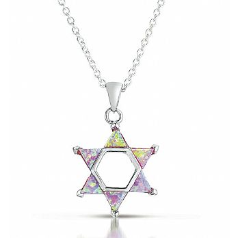 Sterling Silver Star with Pink Opal Stones