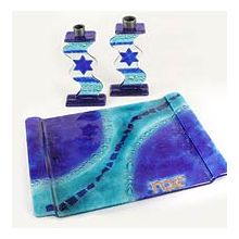 Fused Glass Candlesticks with MatchingTray - Blue With Star of David