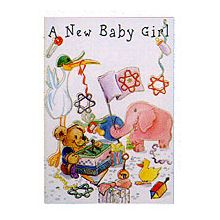 Judaic Embossed Card - Baby Girl