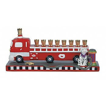 Durable Resin Fire Truck Menorah
