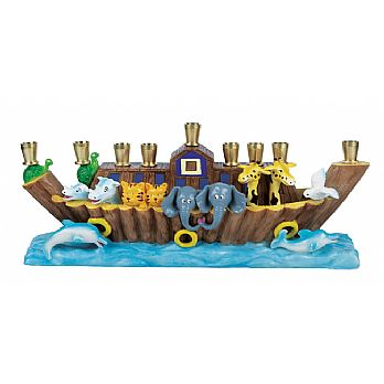 Sculptured Resin Noah's Ark Menorah