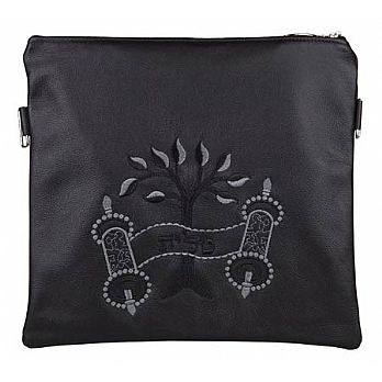 Leather Tallit/Tefillin Bag- Tree of Life Black