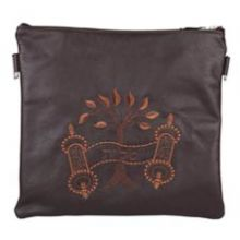 Leather Tallit/Tefillin Bag- Tree of Life Brown