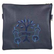 Leather Tallit/Tefillin Bag- Tree of Life Navy