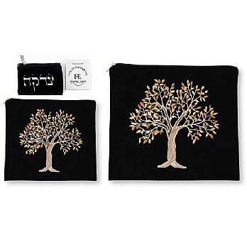 Tallit & Tefillin Set Suede Feel - Tree of Life Black