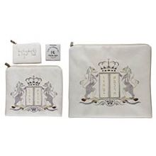 Tallit & Tefillin Set Suede Feel - Lions White