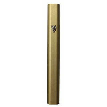 Aluminum Mezuzah Cover - Powder Coated Gold 10cm