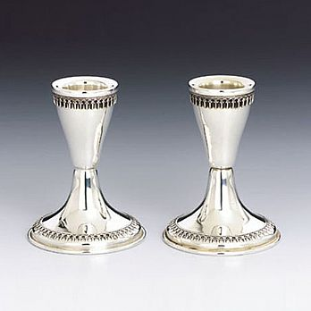 Sterling Silver Candlestick Set - Round Filigree