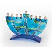 Fused Glass Sea Bubble Menorah