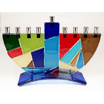 Fused Glass Vibrant Mosaic Menorah