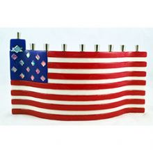 American Flag Tamara Baskin Fused Glass Menorah
