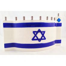 Tamara Baskin Fused Glass Menorah Israeli Flag