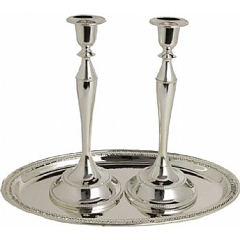 Nickel Plated Candlestick Set with Matching Tray