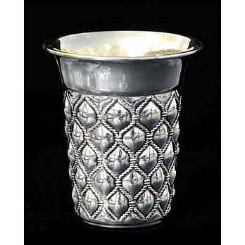 Silver Dipped Kiddush Cup - Quilted