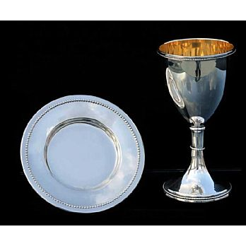 Silver Dipped Kiddush Cup  with Tray - Champagne