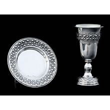 Silver Dipped Kiddush Cup  with Tray - Bubbles