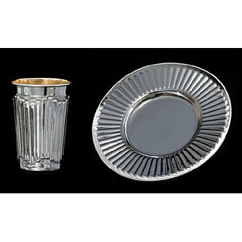 Silver Dipped Kiddush Cup  with Tray - Lines