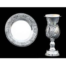 Silver Dipped Kiddush Cup  with Tray - Floral Stripes