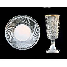 Silver Dipped Kiddush Cup  with Tray - Diagonal lines