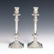 Sterling Silver Candlestick Set- Diamonti