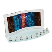 Tamara Baskin Fused Glass Menorah Copper Wave