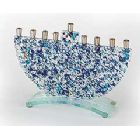 Fused Glass Blue Rock Menorah
