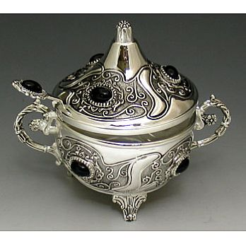 Silver Plated Honey Dish - Antique with Stones