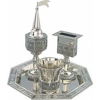 Havdallah 4 piece set in Nickel Plate Finish - Lace