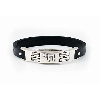 Pewter and Leather Judaic Unisex Bracelet  - Chai