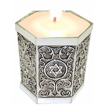 Silver Plated Hexagon Memorial Candle Holder