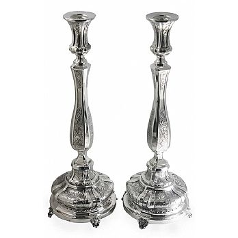Sterling Silver Candlesticks - Classic Round Chased