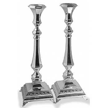 Sterling Silver Candlestick Set - Italian Octagon 12 1/4''