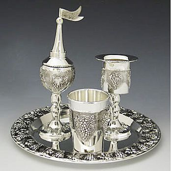 Silver Plated Complete Havdallah Set with Grape Theme
