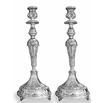 Sterling Silver Candlestick Set -  Majestic Ornate 16.5''