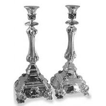 Sterling Silver Candlestick Set -  Roma Ornate 17''