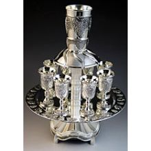 Silver Plated Kiddush Fountain - Grape Design