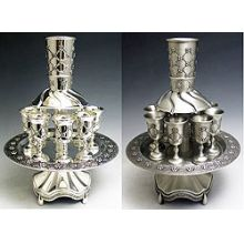 Silver or Pewter Plated Kiddush Fountains - Quilted Design