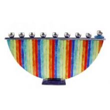 Fused Glass Menorah - Rainbow Fusion