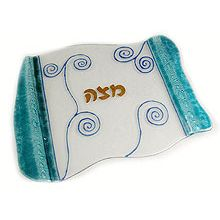 Fused Glass Matzah Plate - Aqua