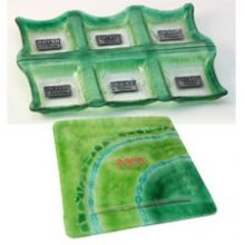 Fused Glass Seder Plate & Matzah Box - Green