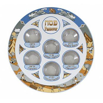 Laminated Seder Plate with Installed Liners - Exodus