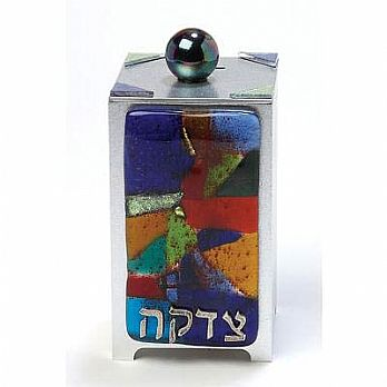 Glass on Metal Tzedakkah Box - Rainbow Fusion