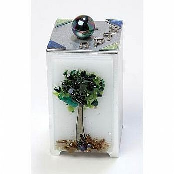 Glass on Metal Tzedakkah Box - Tree of Life