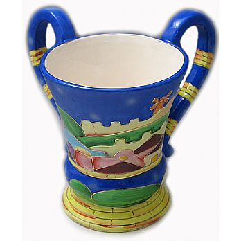 Painted Ceramic Large Wash Cup - Jerusalem