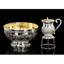 Sterling Silver Wash Cup and Matching Basin